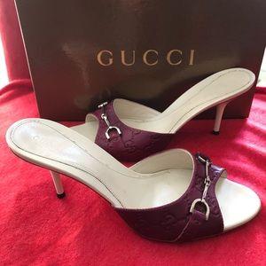 Gucci Violet Horsebit Guccissima Sandals 38C